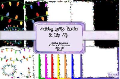 Holiday Lights Border & Clip Art Paper Pack