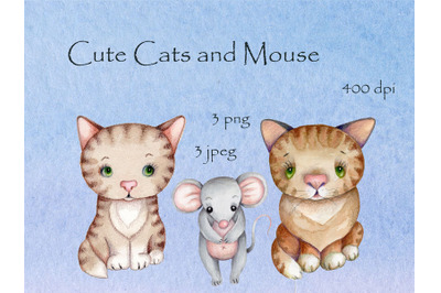 Cute watercolor cats and a mouse.
