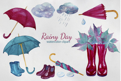 Rainy Day Watercolor Clipart