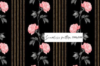 Roses on black