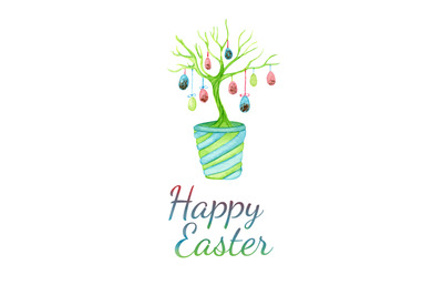 Easter greeting card with easter tree with eggs