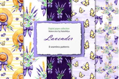 Watercolor lavender digital paper