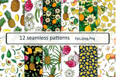 EXOTIC FRUITS. Seamless patterns
