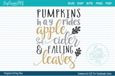 Pumpkins hay rides apple cider falling leaves