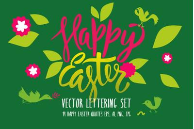 Happy Easter Vector Lettering Set