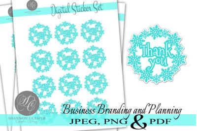 Snowflake Wreath Thank You Print and Cut