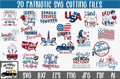4th of July SVG Cut File Bundle - Patriotic SVG Bundle