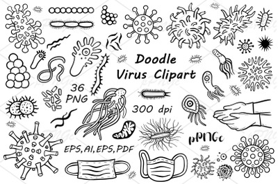 Doodle bacteria and virus clipart, png, eps ai, vector, cvg