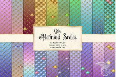 Gold Mermaid Scales Digital Paper