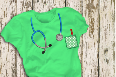Mock Stethoscope and Pocket | Applique Embroidery
