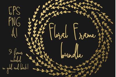 Gold Foil Floral Frame Bundle