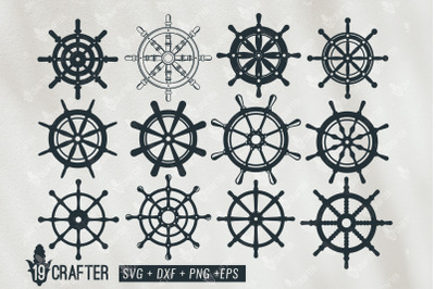 ship steering wheel marine theme svg bundle