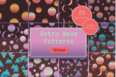 Retro Wave Vector Seamless Patterns