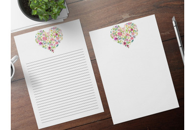 Digital Note Paper, Romantic Printable Stationery, Wedding Papers