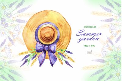 Watercolor summer garden cliparts