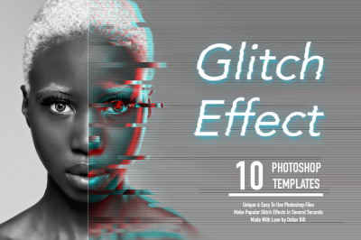 Glitch Effect Set for Photoshop.