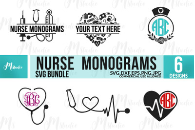 Nurse Monogram SVG Bundle