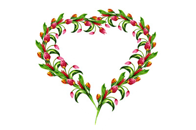 spring heart with flowers