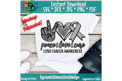 Peace Love Cure svg, Lung Cancer svg, Lung Cancer Cancer Ribbon, Cance
