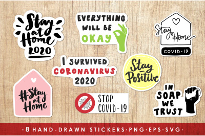 Coronavirus Quarantine Stickers pack
