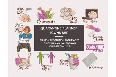 Quarantine stickers printable Coronavirus clipart, Lockdown stickers Q