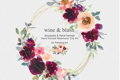 Wine & Blush Watercolor Clip Art Collection
