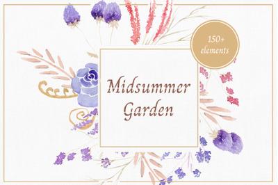 Midsummer Garden Floral Watercolor Clipart