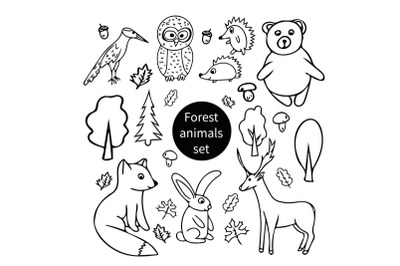 forest animals doodle set