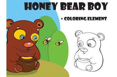 Bear and Bee on apiary vector illustration, coloring illustration