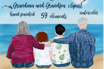 Grandparents clipart, Grandma and Grandpa sitting with kids