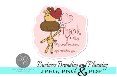 Giraffe Thank You Stickers - Print and Cut