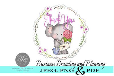 Elephant Thank You Stickers - Print and Cut
