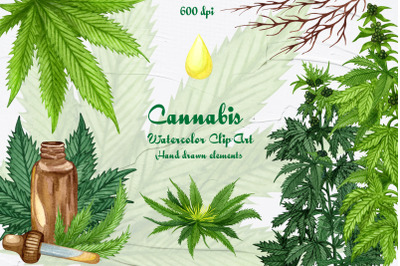 Cannabis/Hemp Watercolor ClipArt