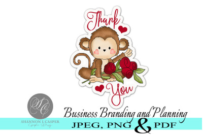 Monkey Thank You Stickers - Print and Cut
