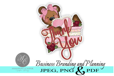 Teddy Bear Thank You Stickers - Print and Cut