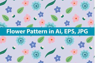 Blue Flowers Pattern Art Design