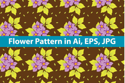 Brown with Purple Flowers Pattern
