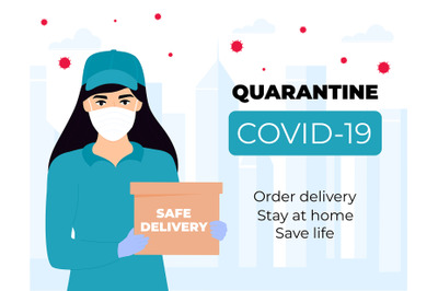 Safe delivery. Courier girl in a protective medical mask holds a parce
