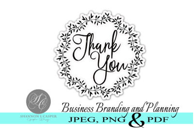 Thank You Wreath Black and White Print and Cut Stickers