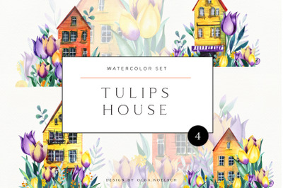 Watercolor house. Housewarming gift. Cute home. Stay home