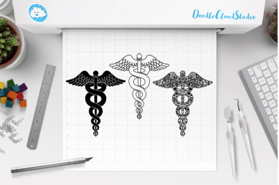 Caduceus SVG, Caduceus Mandala SVG, Medical Symbol.