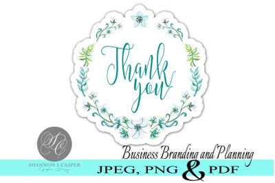 Blue Floral Thank You Print and Cut Stickers