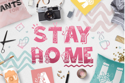 Stay Home - Doodle Font!