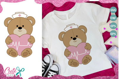 Nurse teddy bear with heart svg cut file for crafter