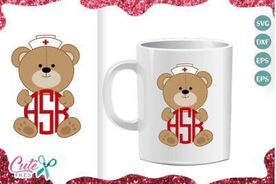 Nurse teddy bear monogram frame svg cut file for crafter