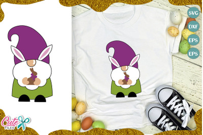 Easter gnome with chocolate rabbit svg file for crafter