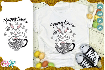 Happy easter bunny with mandala svg cut file