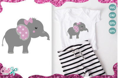 Little elephant, its a girl svg cut file for crafter