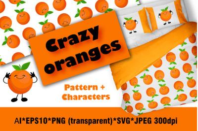 Crazy orange. Set of fruit characters. Orange orange with a face. Citr