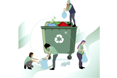 People collect and recycle garbage